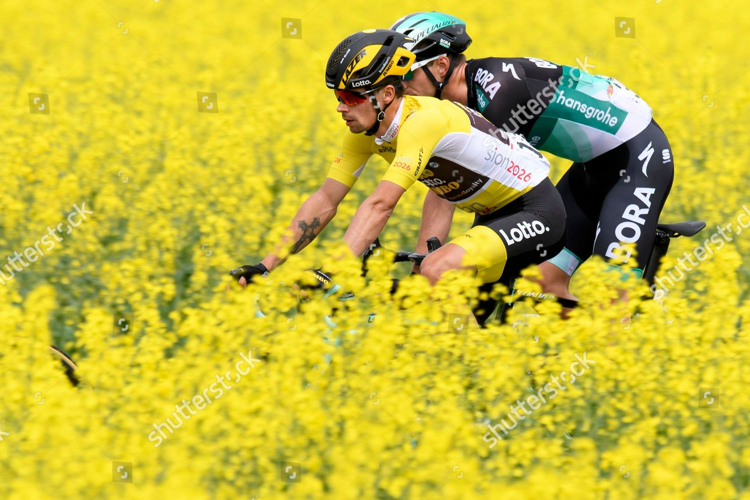 overall leader Slovenian rider Primoz Roglic team Stock Photo ... 1a879cd37