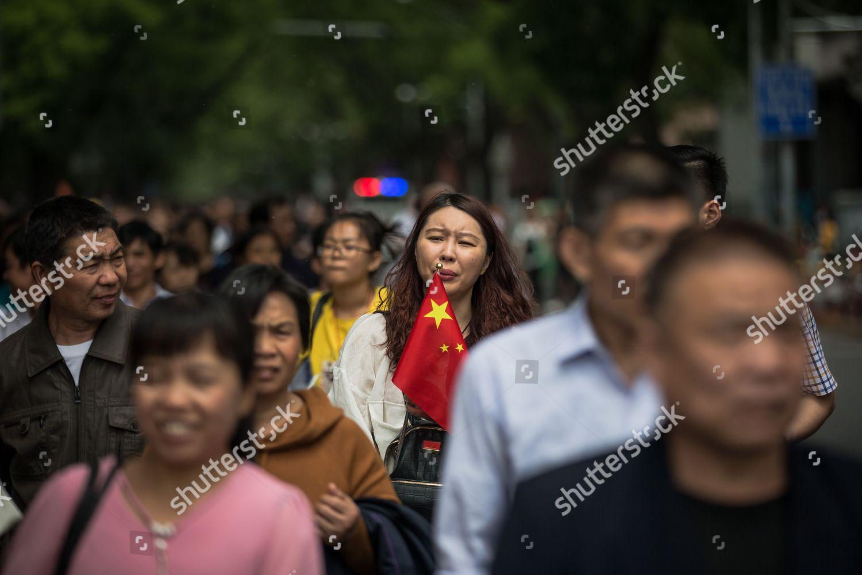 Chinese Tourists Walk Visit Tiananmen Square Beijing Editorial Stock