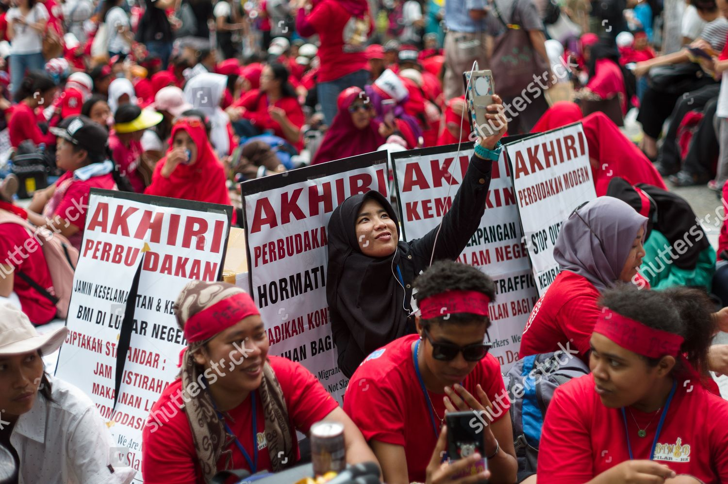 Indonesian Migrant Workers Take Part Annual Labor Editorial Stock