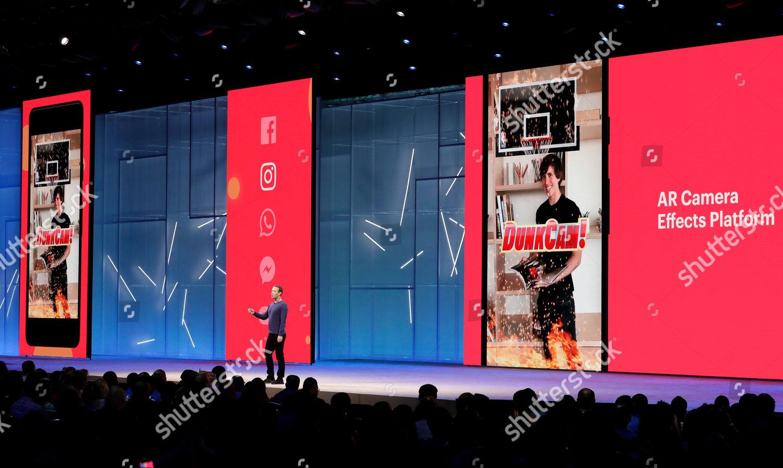 Facebook CEO Mark Zuckerberg makes keynote address Editorial Stock