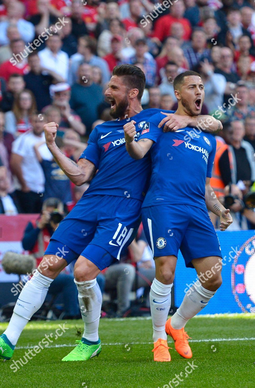 Eden Hazard Chelsea Olivier Giroud Chelsea Celebrating