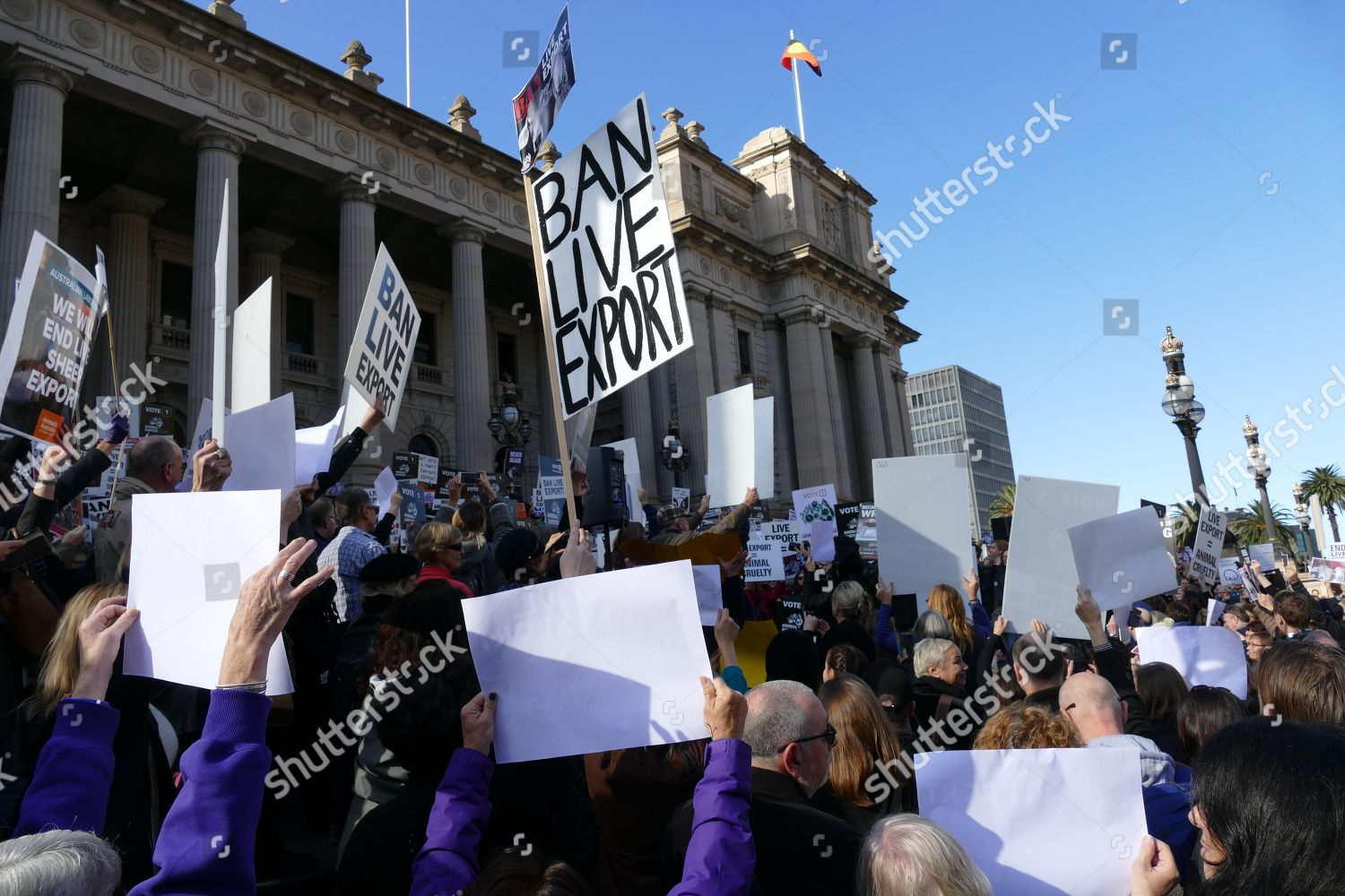 Protestors gather on steps Victorian State Parliament