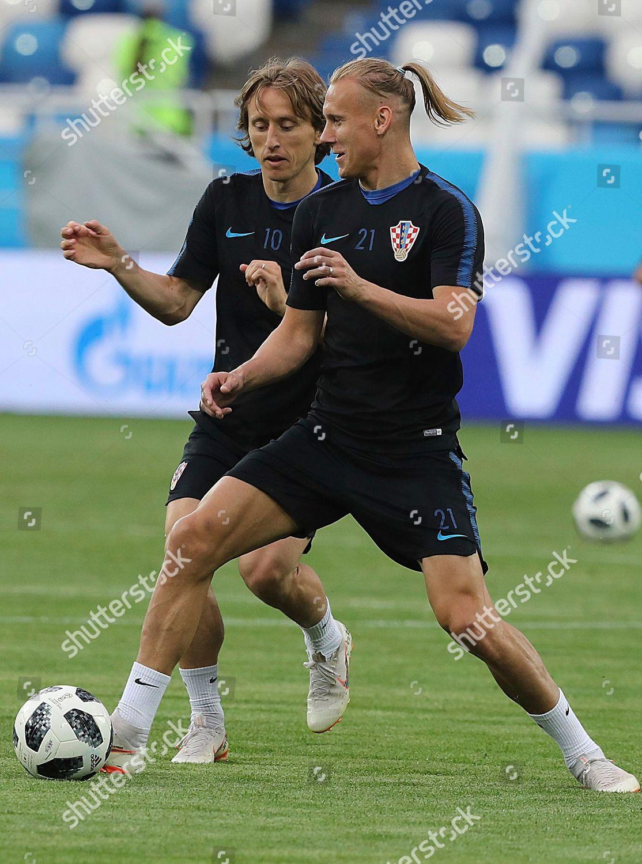 Croatias Domagoj Vida Right Challenges Luka Modric Editorial