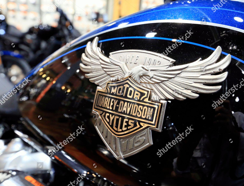 Harley Davidson Emblem Seen On Fuel Tank Editorial Stock Photo