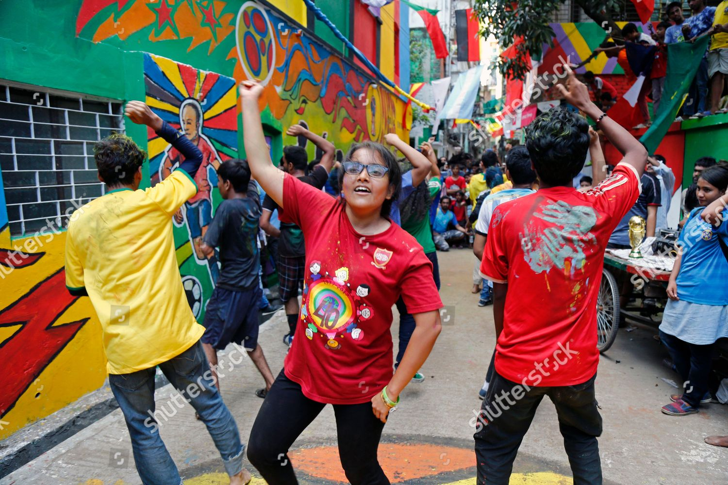 Bangladeshi Soccer Fans Attend Flash Mob Celebrate Editorial Stock