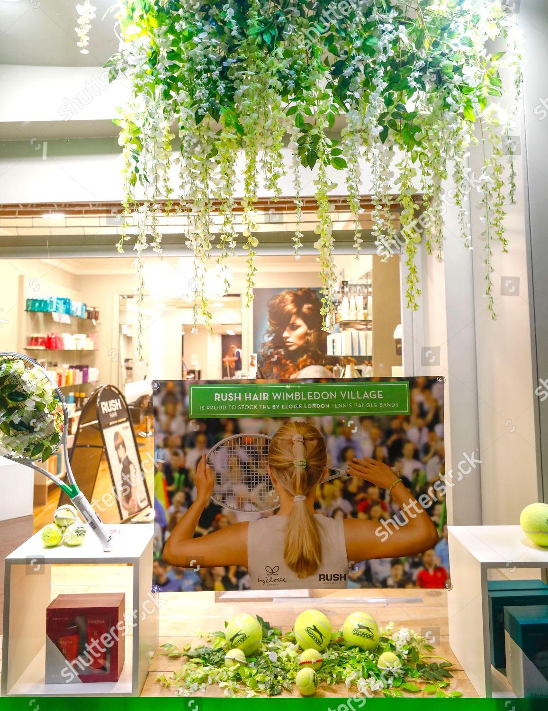 Deco Nature Salon tennis themed shop window decorations hair salon editorial