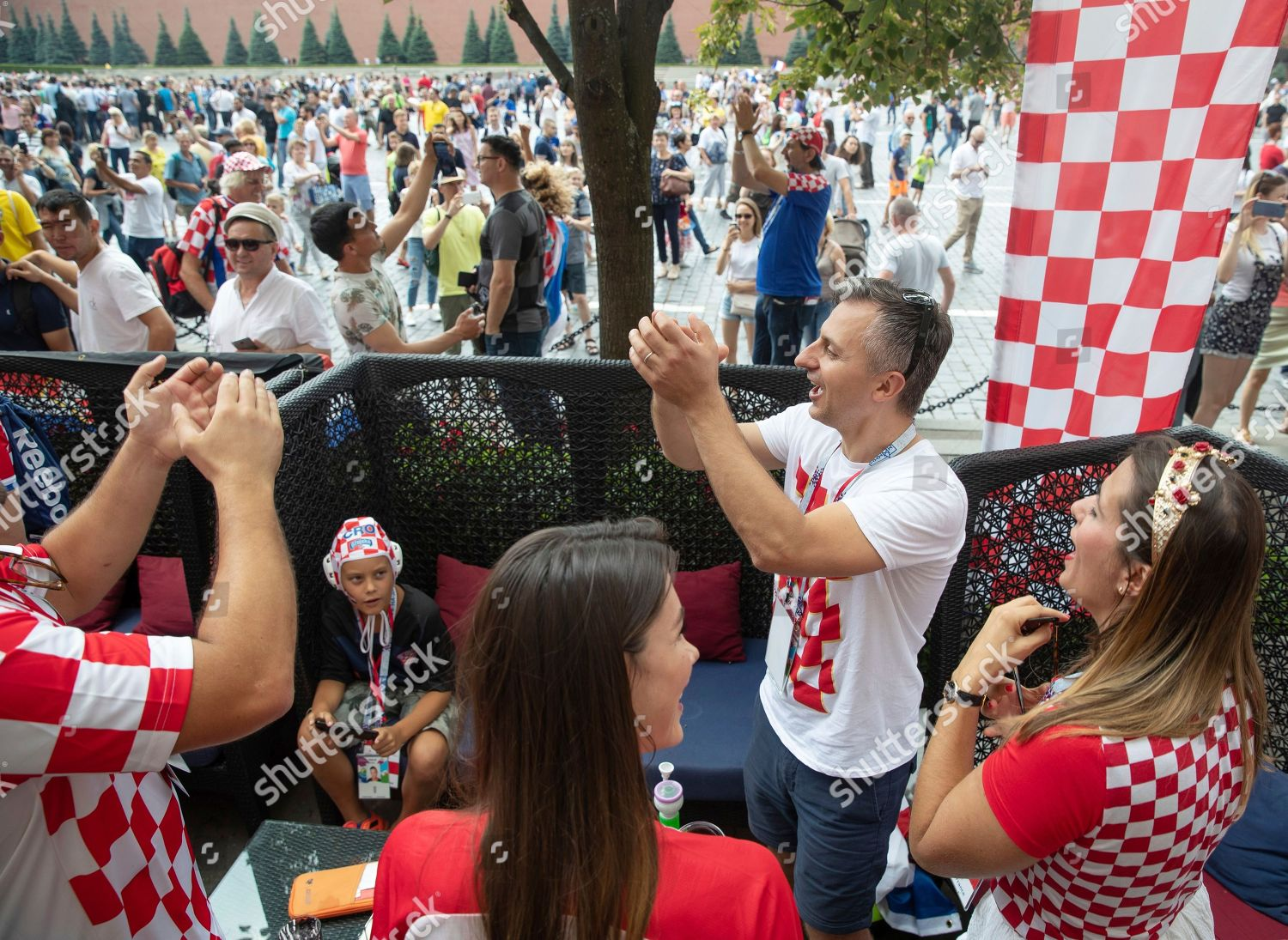 Croatias soccer fans sing songs bar Red Editorial Stock Photo