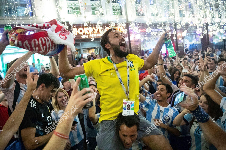 Argentinas Brazils soccer fans sing songs Nikolskaya Editorial Stock