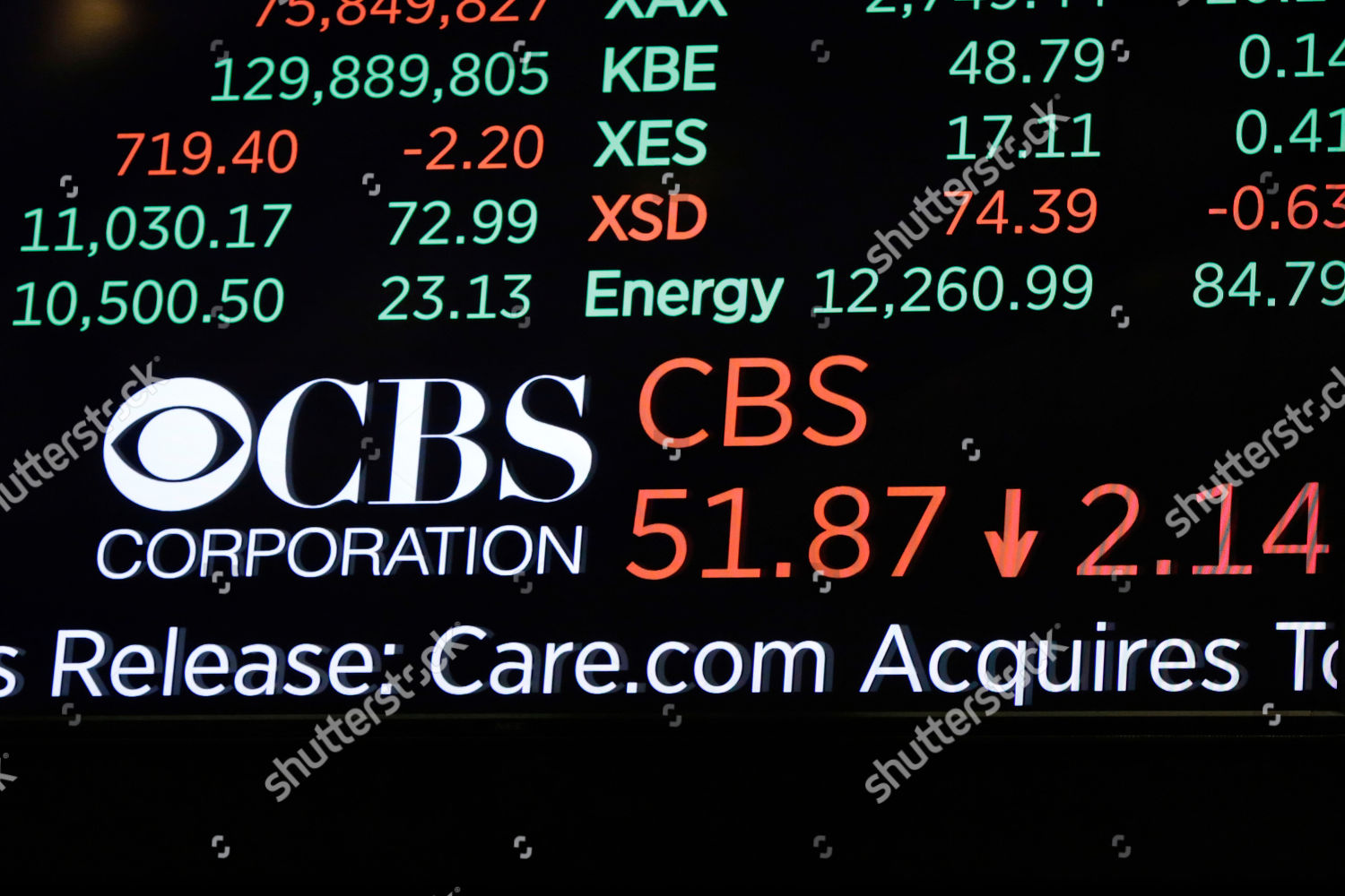 logo CBS Corporation scrolls on board above Editorial Stock