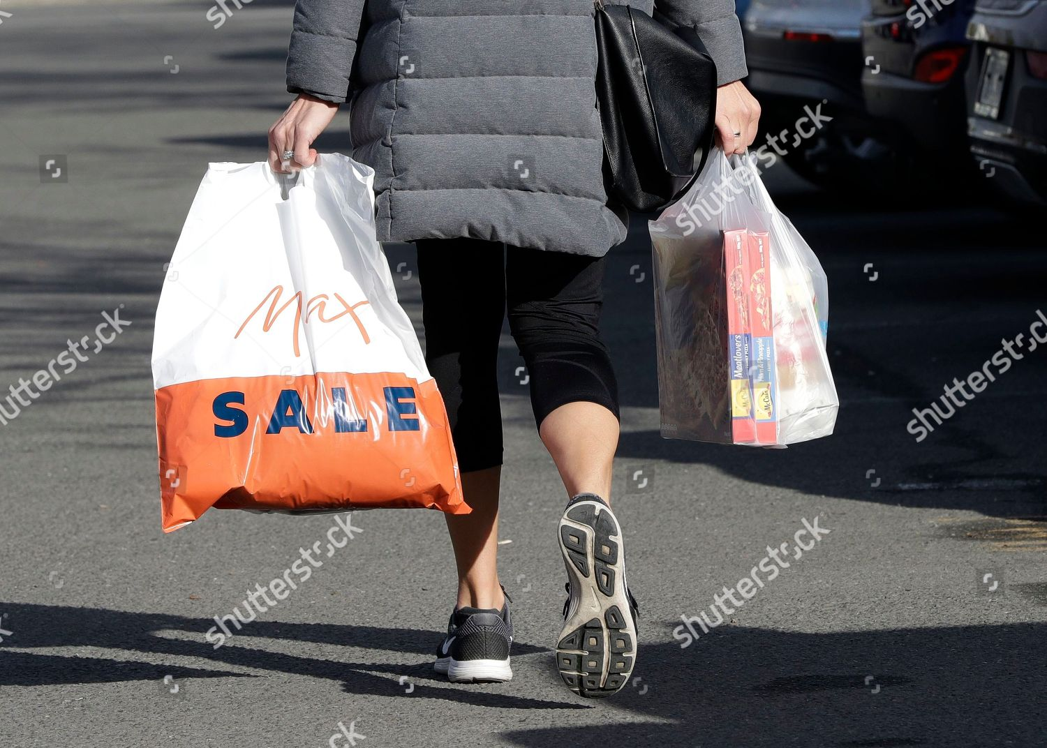 Editorial Stock Photo Of Shopper Leaves Supermarket Goods Plastic