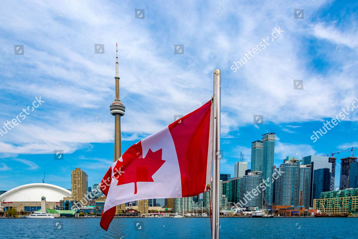 Canadian Flag Toronto Skyline Flags Waves Back Editorial Stock Photo Stock Image Shutterstock