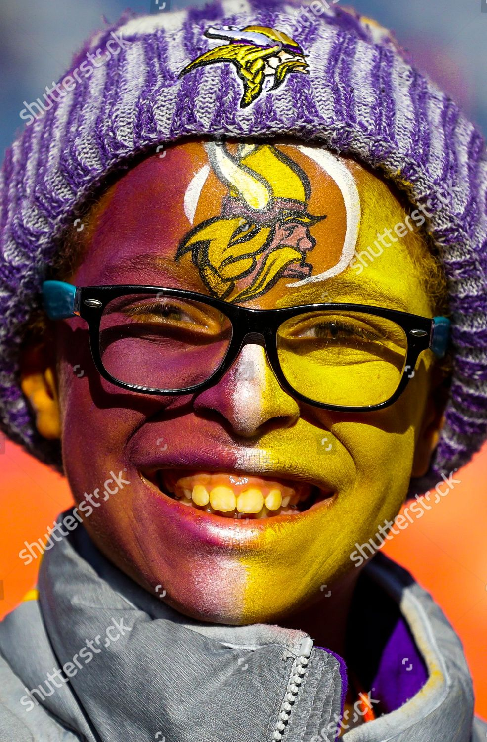 Minnesota Vikings Fan Shows Support Painted Face Editorial Stock