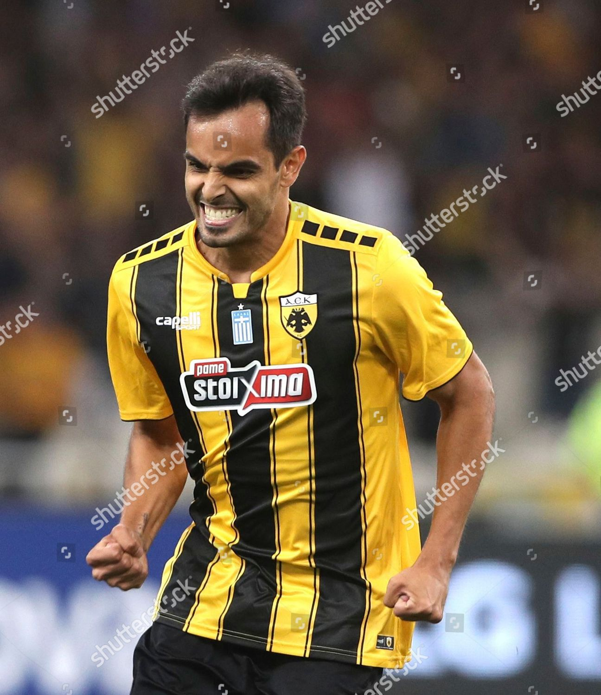 9ab59b10f AEK Athens Rodrigo Galo jubilates after scoring Editorial Stock ...
