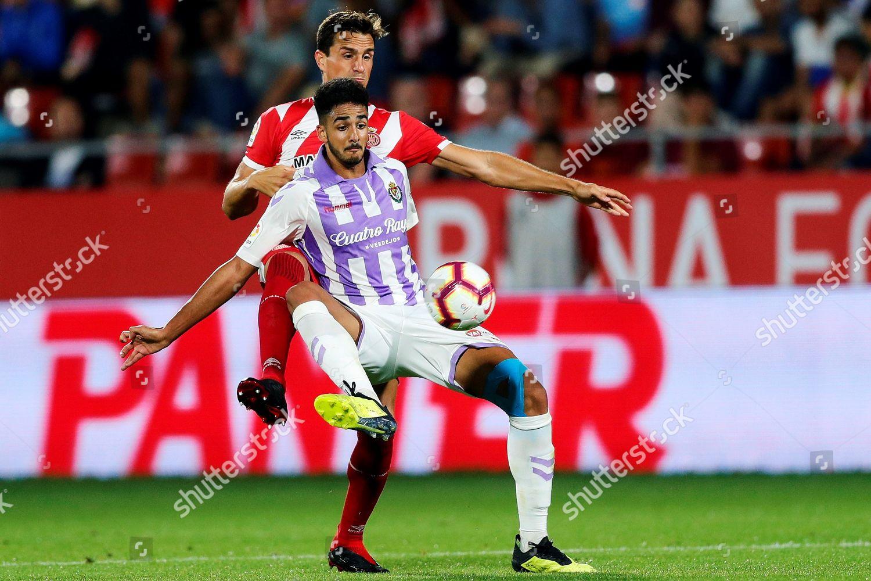 Gironas Bernardo Back Valladolids Chris Ramos Front Editorial Stock