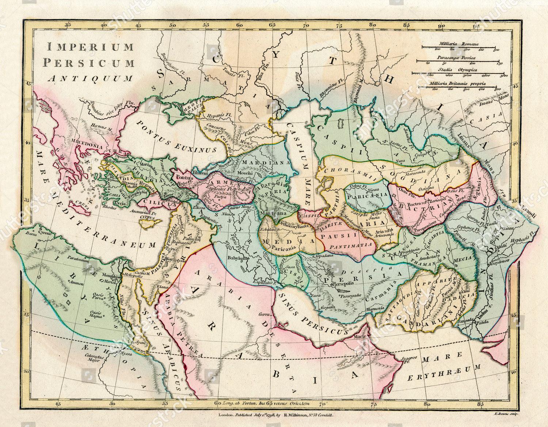Map Ancient Persian Empire Encompassing Greece North Editorial Stock ...