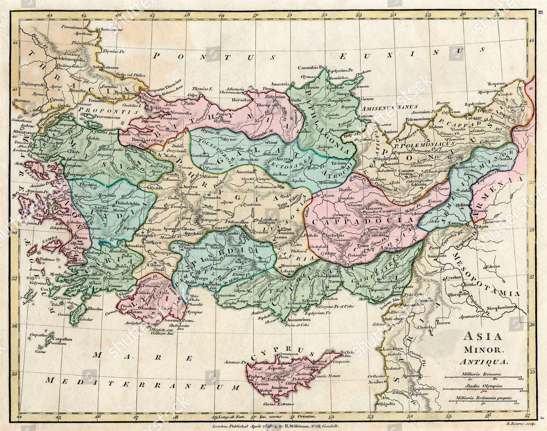 Map Of Asia Minor.Map Asia Minor Turkey Antiquity Preottoman Empire Editorial Stock