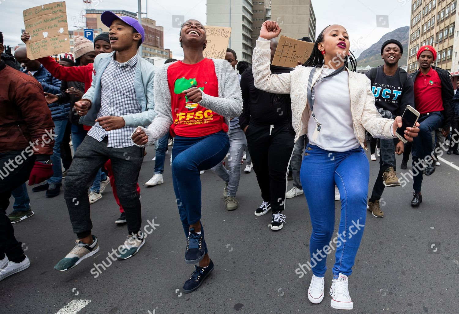 South African students protest on streets outside Editorial
