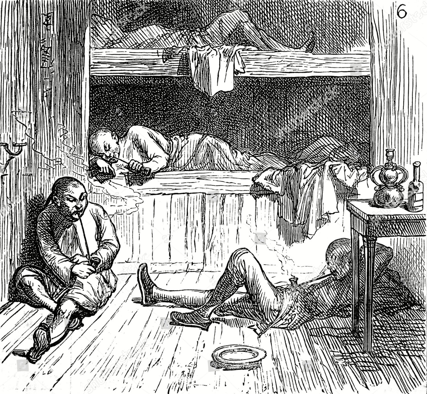 Opium Den Showing Chinese People Under Influence Editorial Stock