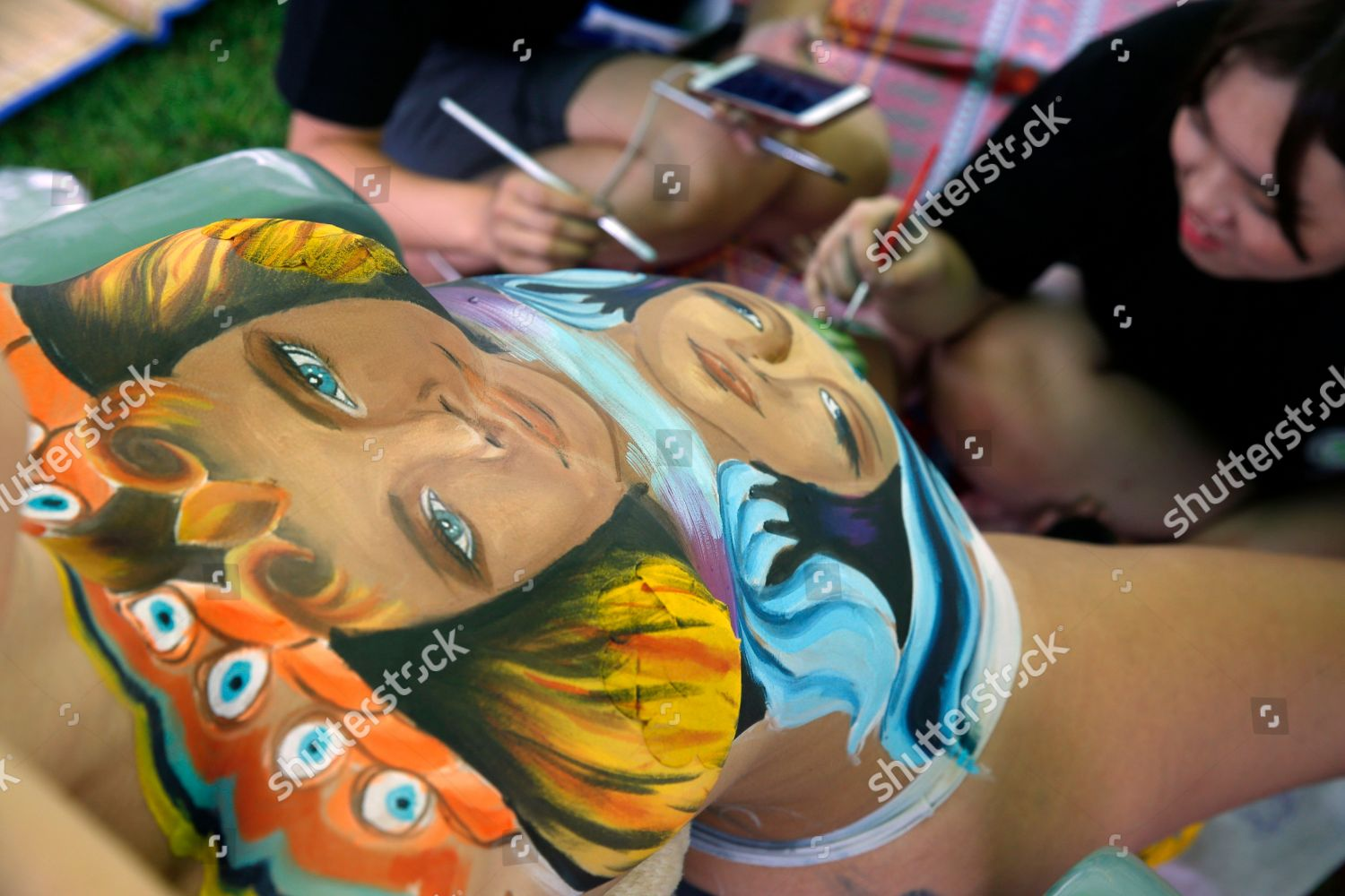 Artist Paints Body Painting On Model During Editorial Stock Photo Stock Image Shutterstock