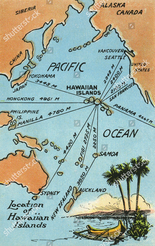 Hawaii Pacific Map Map Hawaiian Islands Pacific Ocean Surrounding Areas Editorial