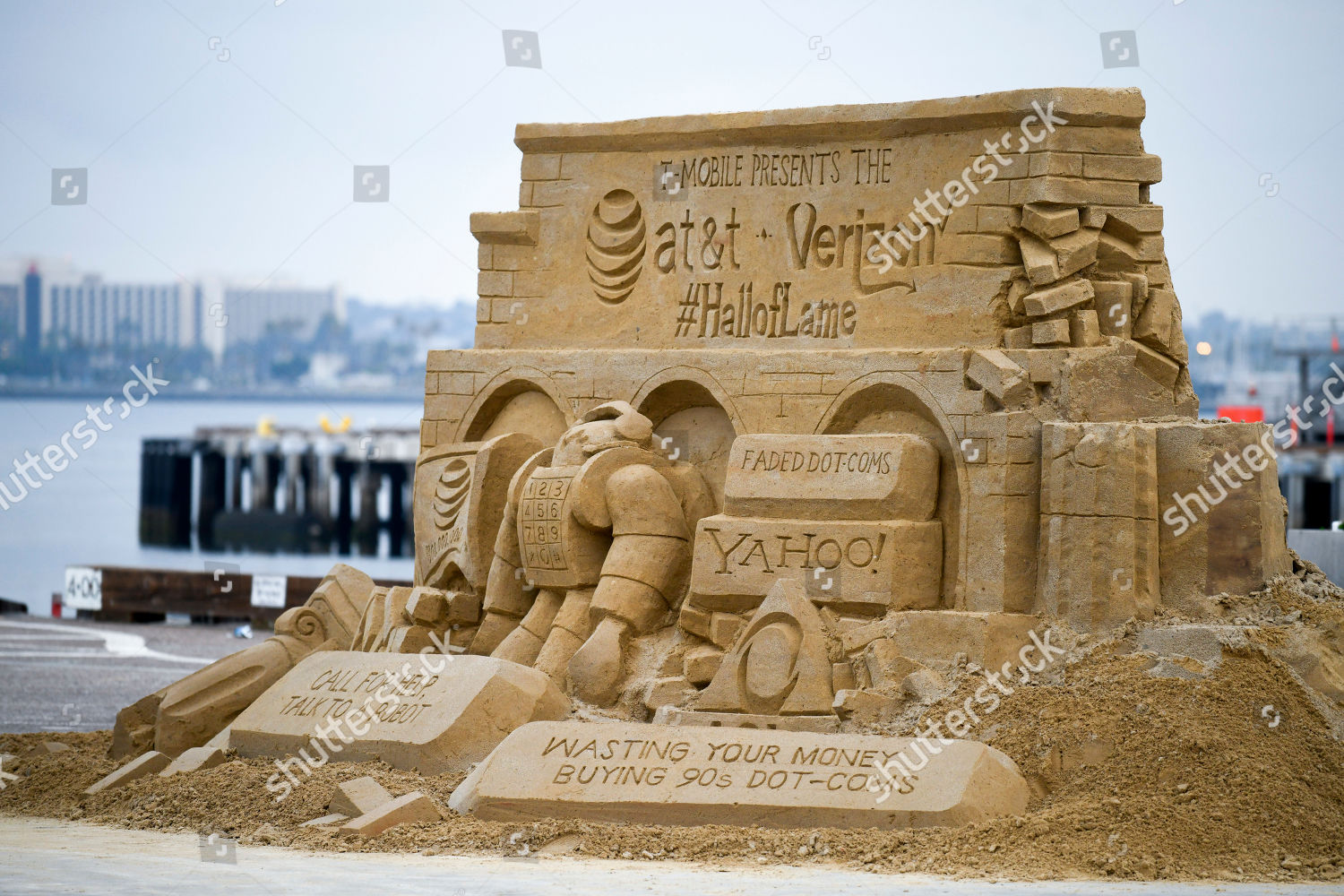 TMobile HallofLame sand sculpture sits on Broadway Editorial