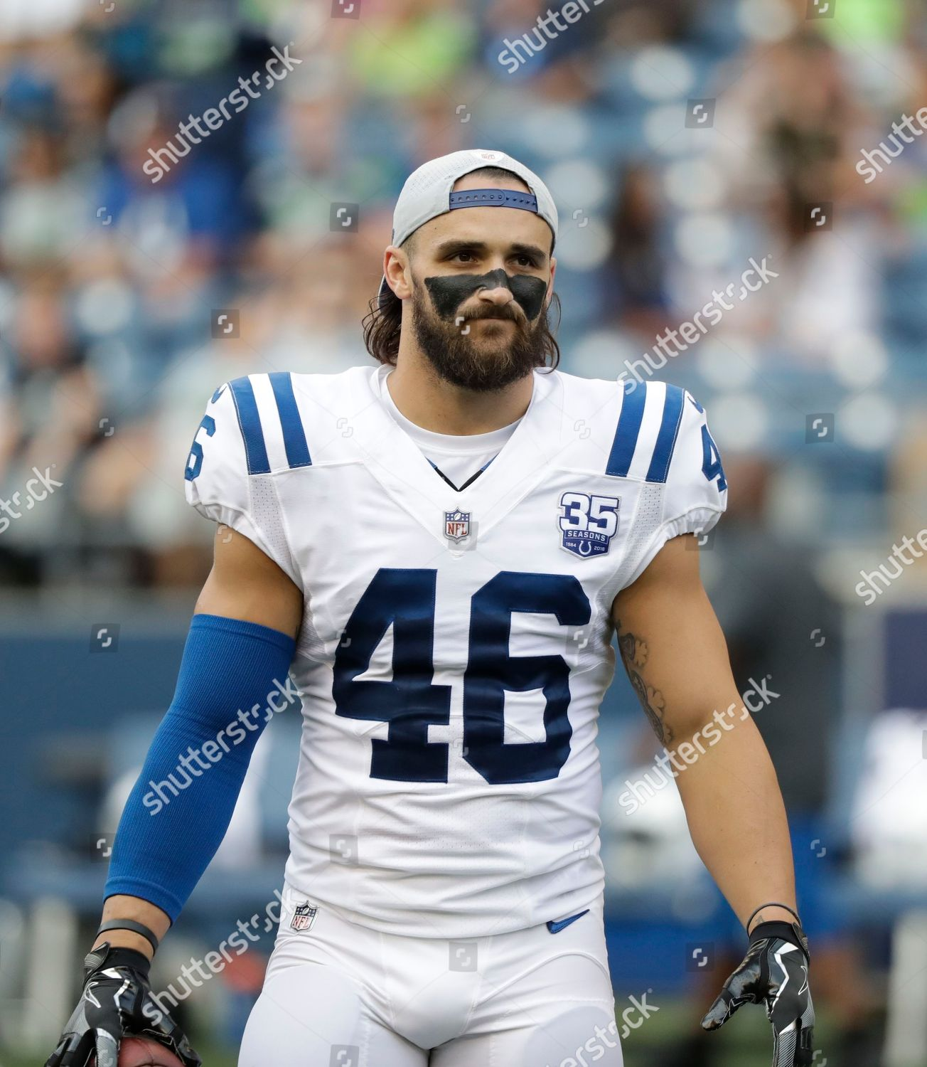 pretty nice d6e7c 4af28 Indianapolis Colts long snapper Luke Rhodes stands Editorial ...
