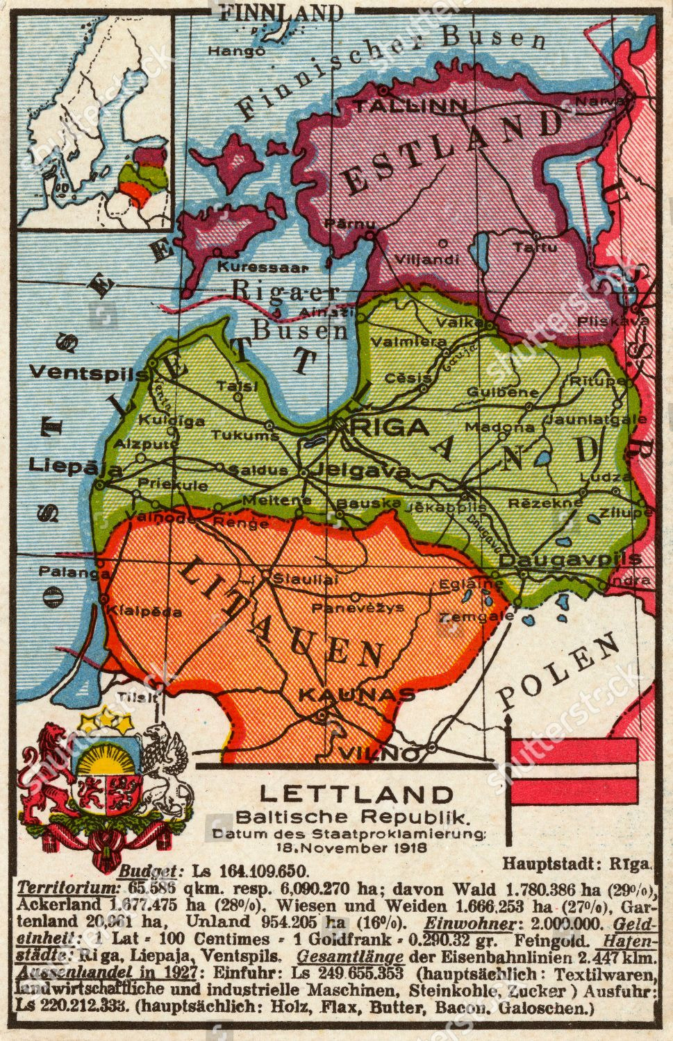Dutch Map Postcard Baltic States Focusing On Editorial Stock Photo on