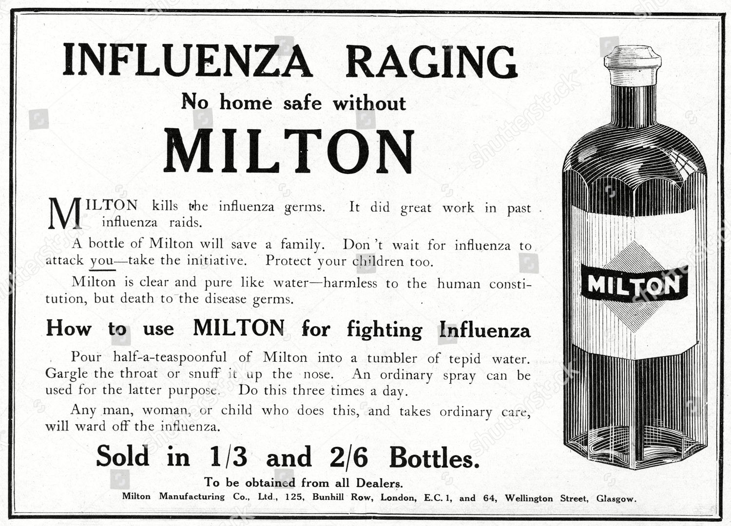 Advertisement Milton Disinfectant Advice Gargle Diluted