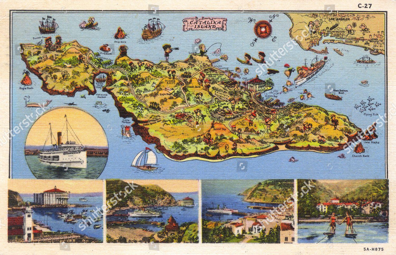 Map Santa Catalina Island Off Coast California Editorial Stock Photo on