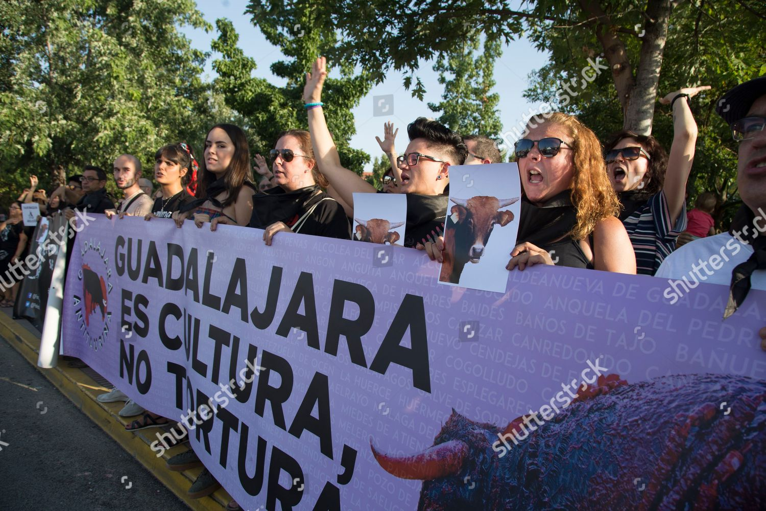 Banos San Sebastian.Anti Bullfighting Demonstrators Seen Huge Banner During