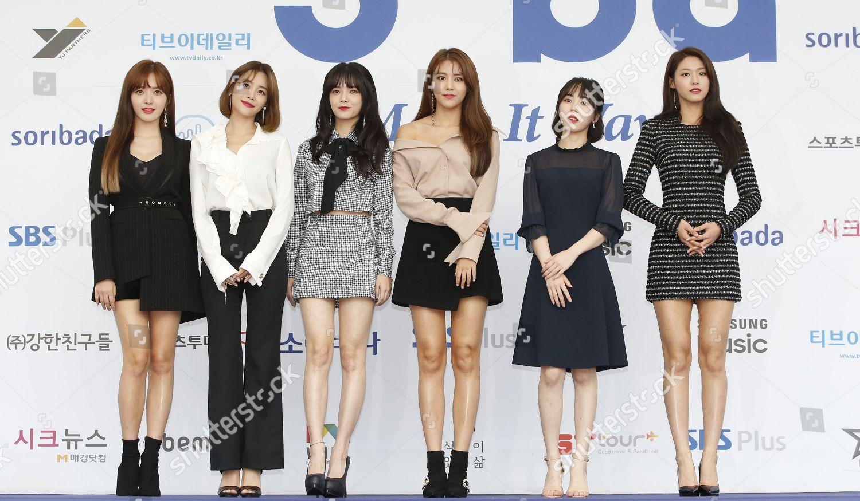 South Korean girl group AOA members pose Editorial Stock