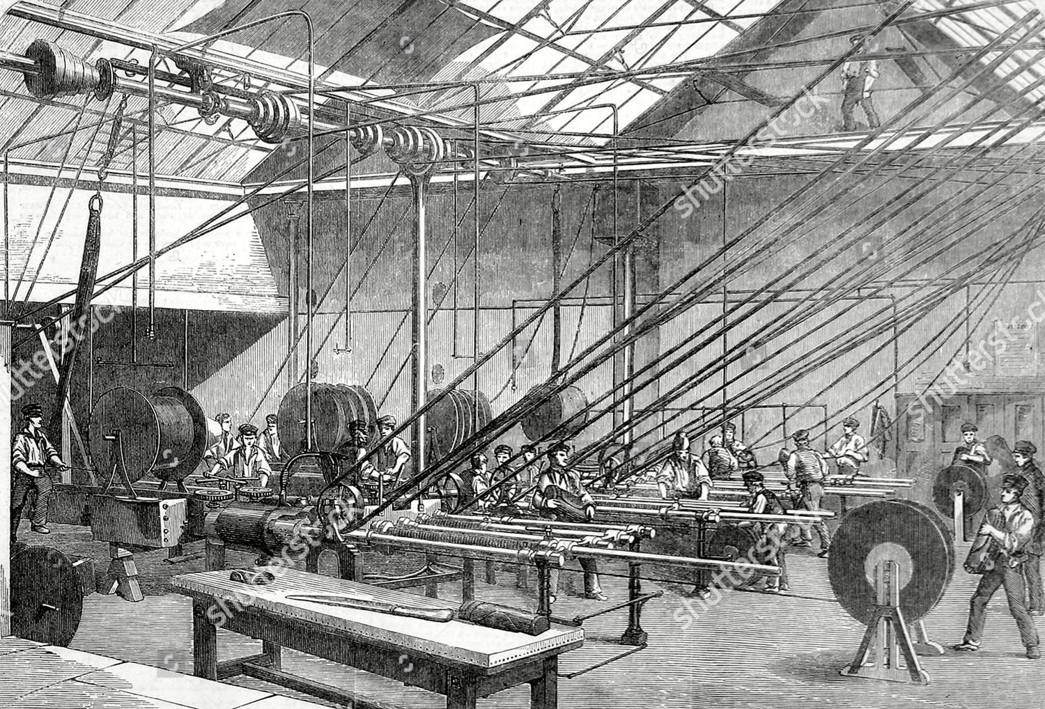 ภาพสต็อกของ Manufacture of the Atlantic Telegraph Cable - 14 Mar 1857