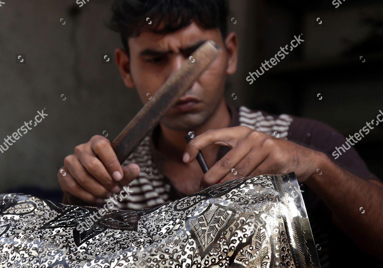 Pakistani Artisan Makes Cooper Brass Handicrafts Shop Editorial