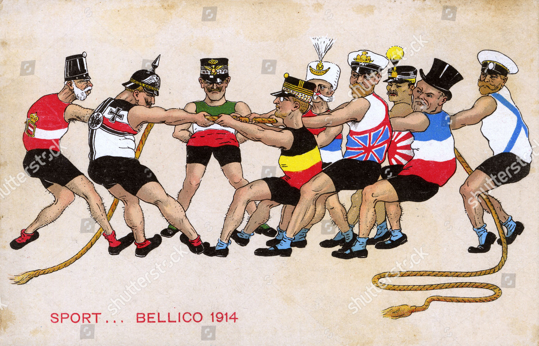 Ww1 Italian Propaganda Postcard Tug War Between Editorial