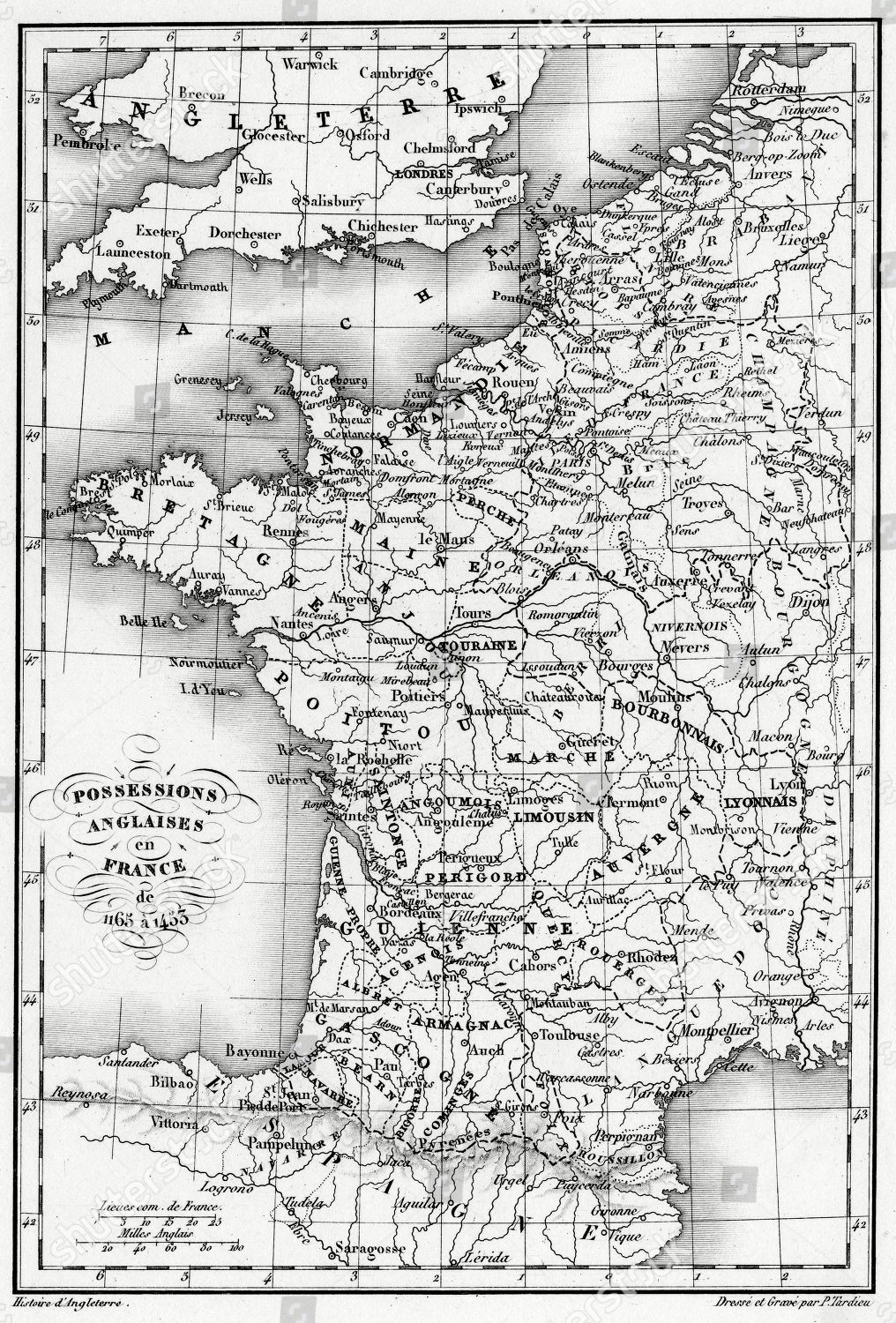 English Map Of France.Map France Showing English Possessions Between 1165 Editorial Stock
