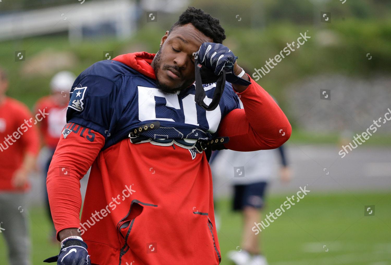New England Patriots linebacker Nicholas Grigsby wipes Editorial ...