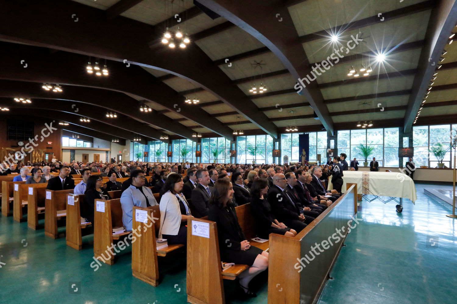 Mourners attend funeral Evelyn Rodriguez Saint Annes