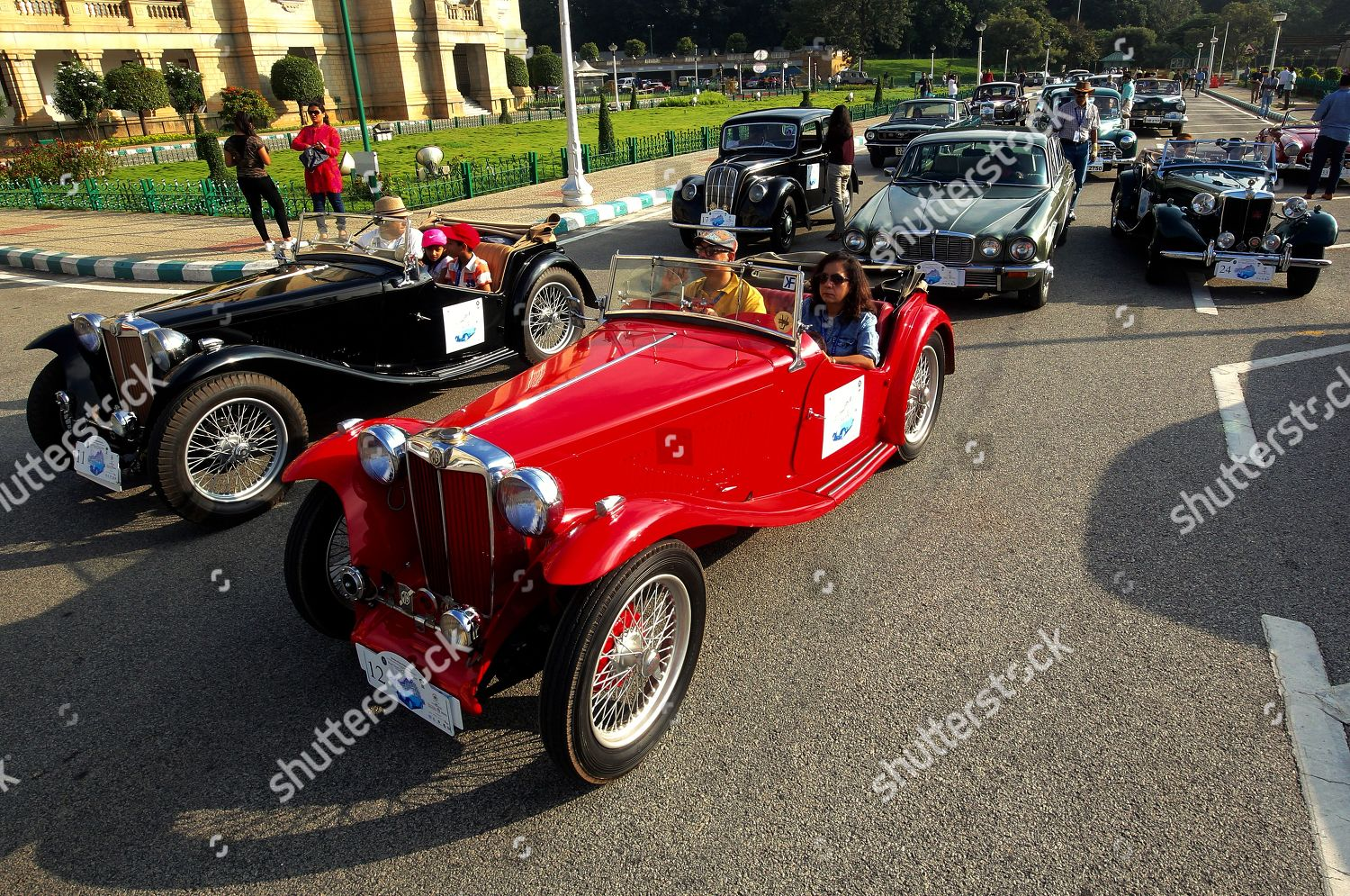 British MG vintage cars front take part Editorial Stock