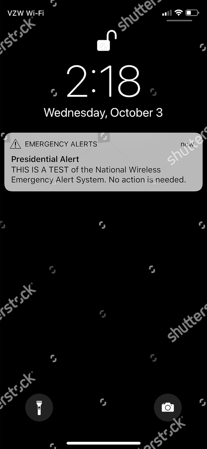 screenshot showing Presidential Alert test message appears Editorial