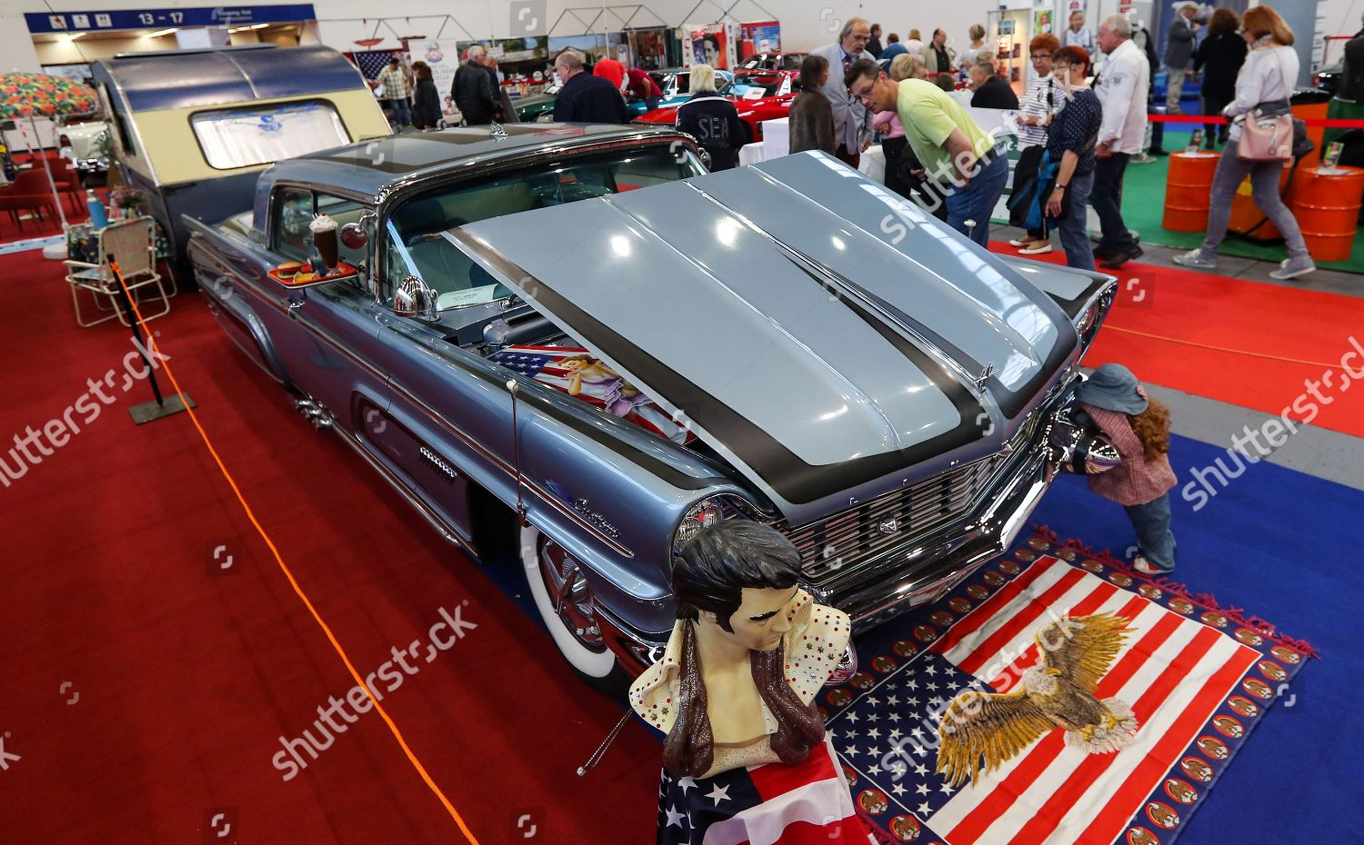 Visitors Look Lincoln Car 1960 Oldtimer Show Editorial Stock Photo