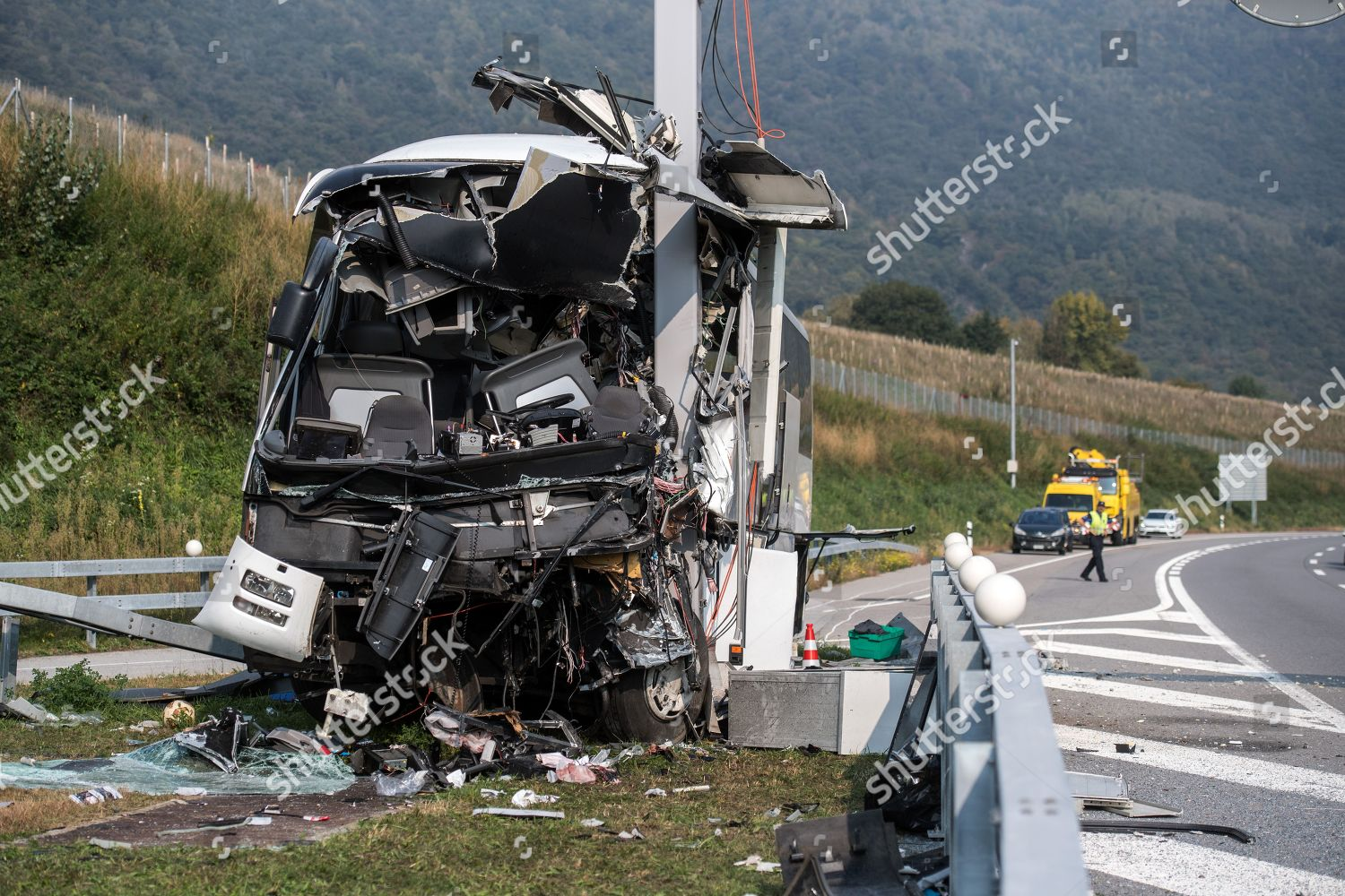 wreck bus seen site accident on highway Editorial Stock