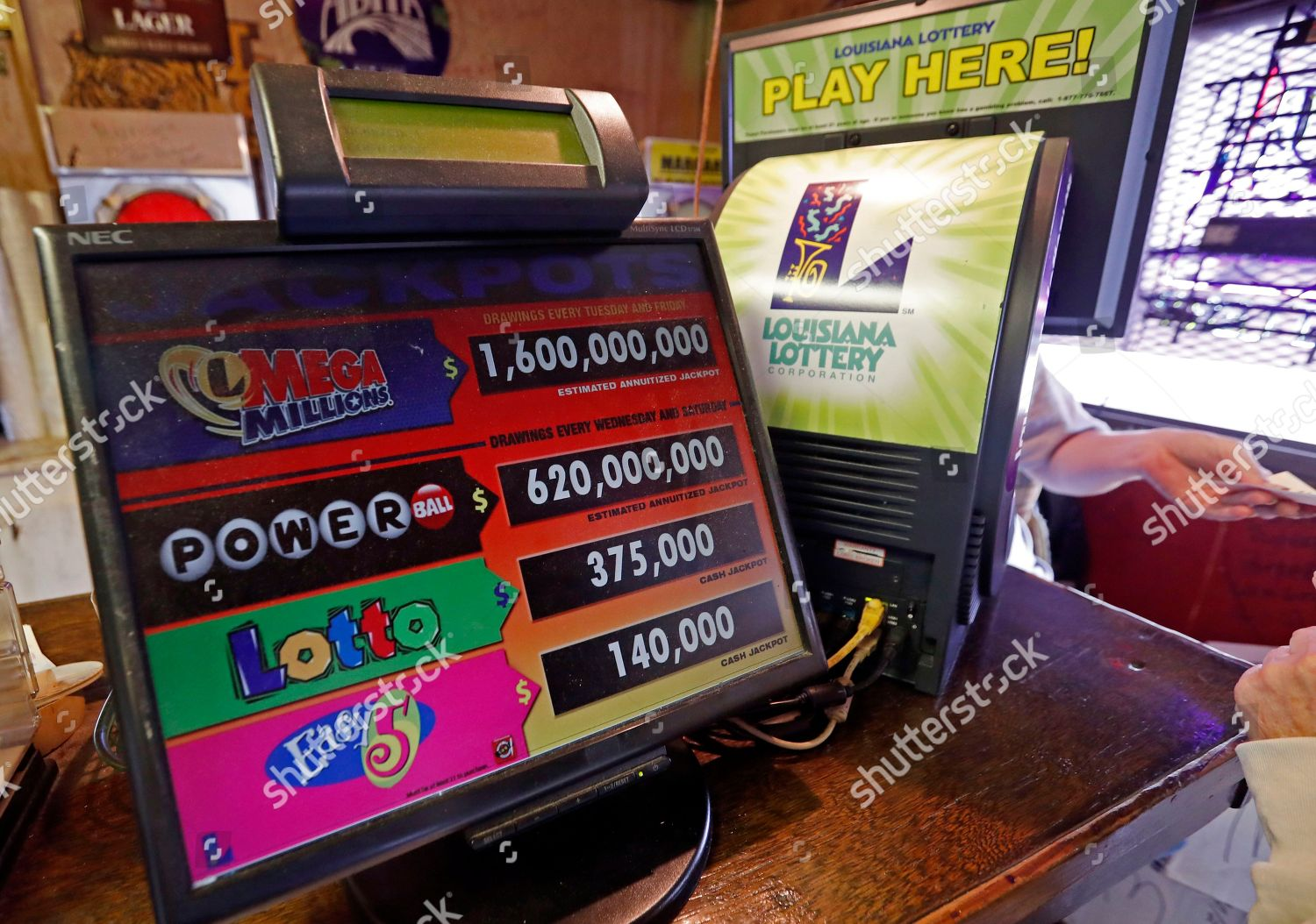 monitor displays possible jackpots various games chance