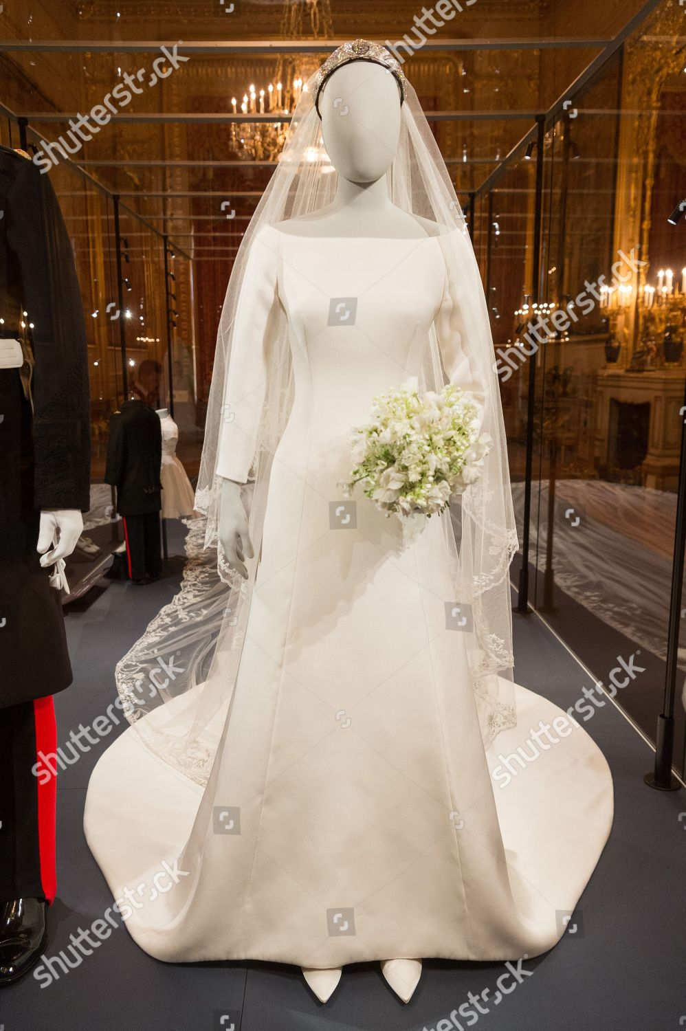 duchess sussexs wedding dress which created by editorial stock photo stock image shutterstock https www shutterstock com editorial image editorial a royal wedding the duke and duchess of sussex exhibition windsor uk 25 oct 2018 9944072l