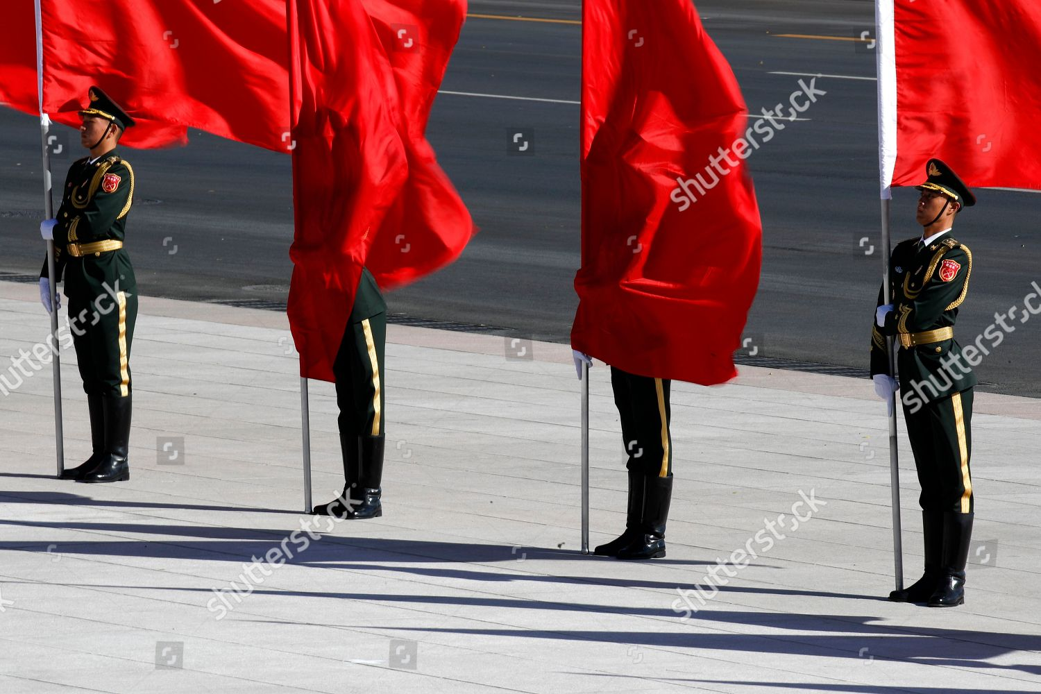 Members Chinese honor guard covered red flags Editorial