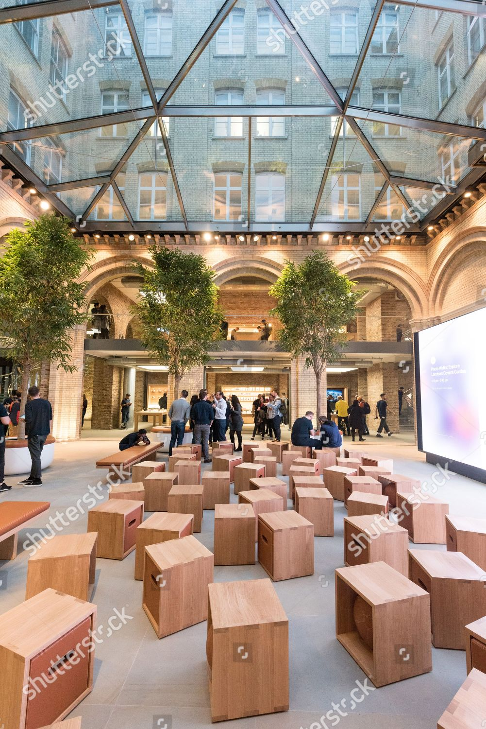 Interior redeveloped Apple Covent Garden store large Editorial Stock