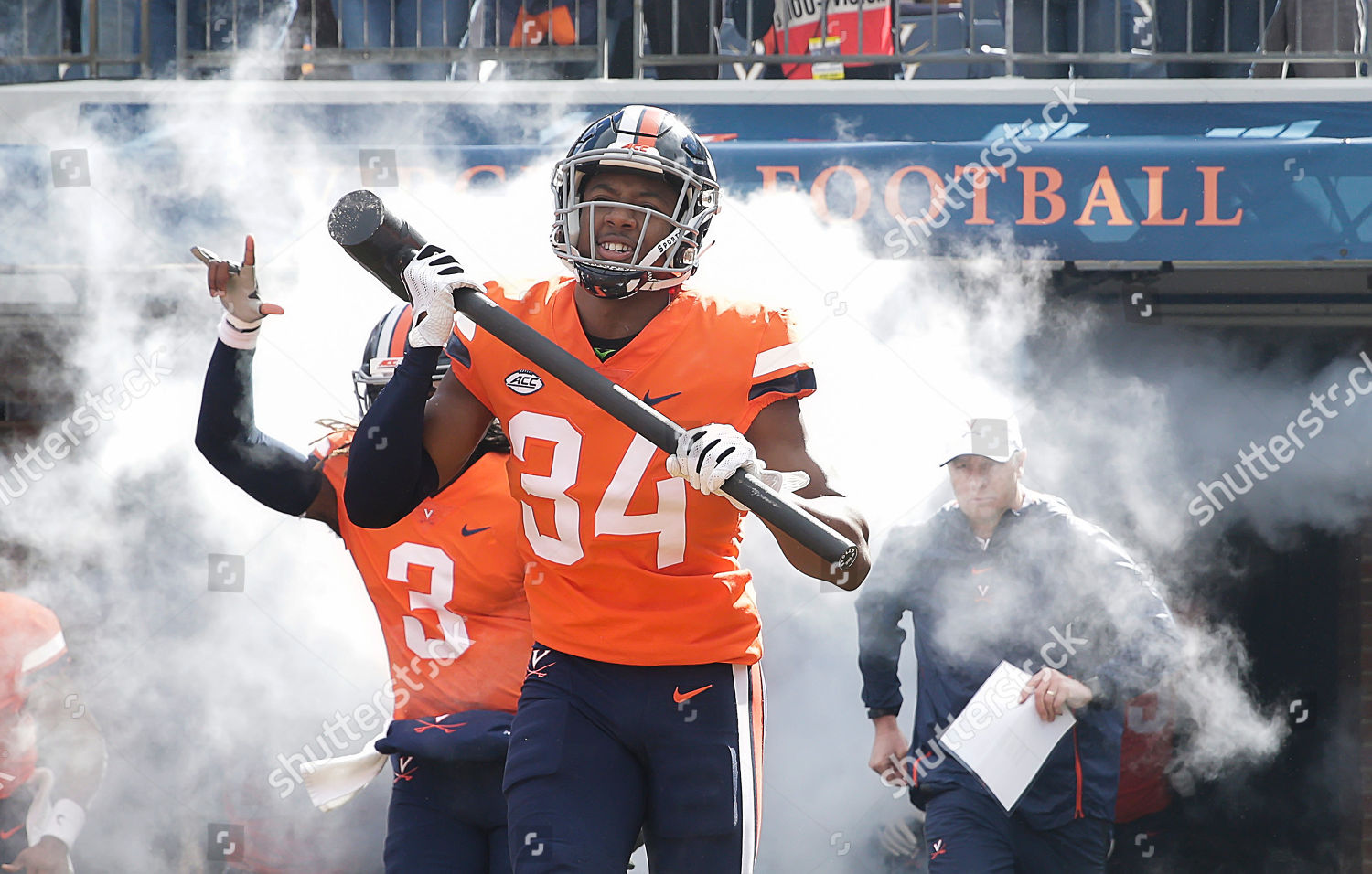 Virginia Cavaliers CB 34 Bryce Hall carries Editorial Stock