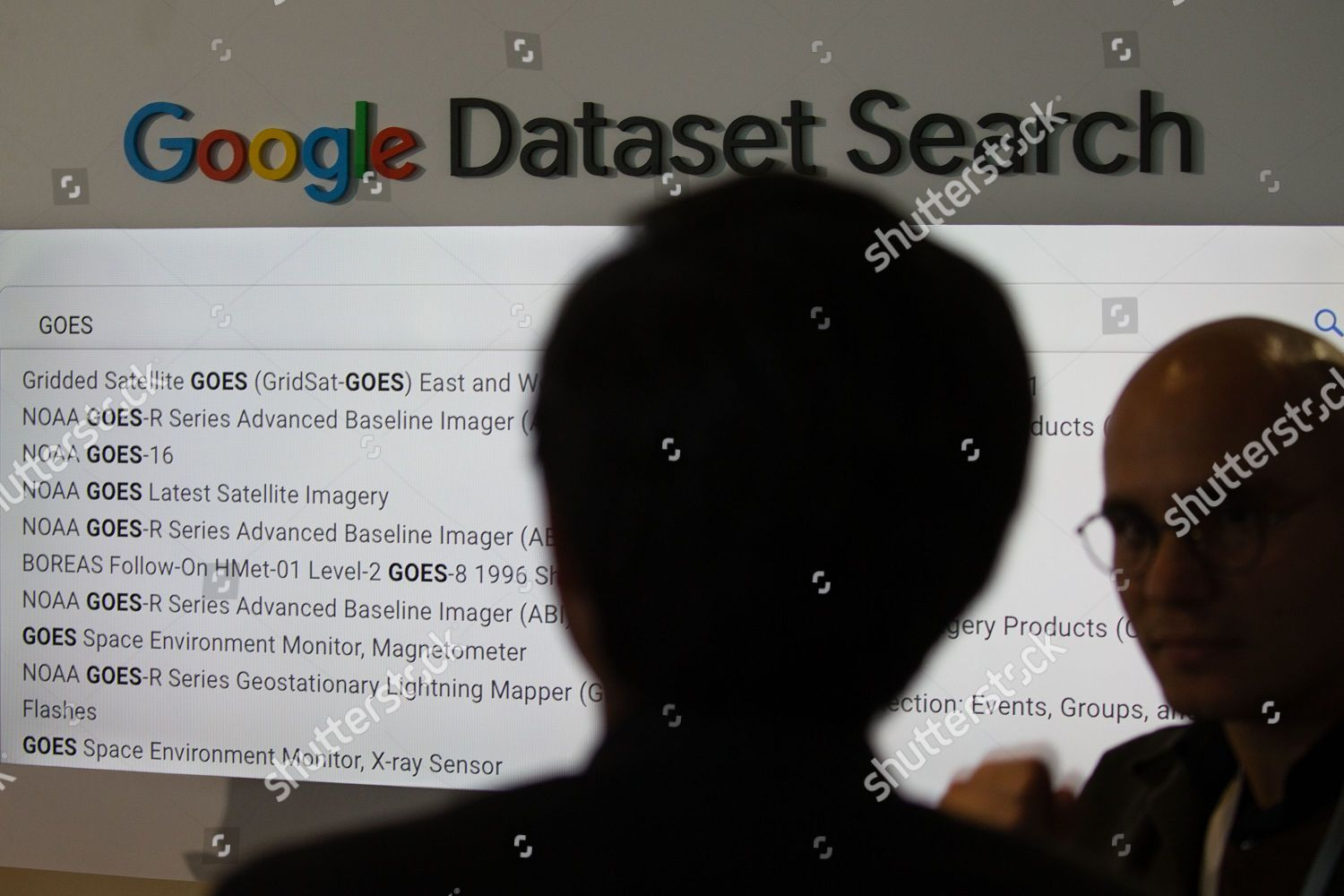 display shows different searchable Google datasets that