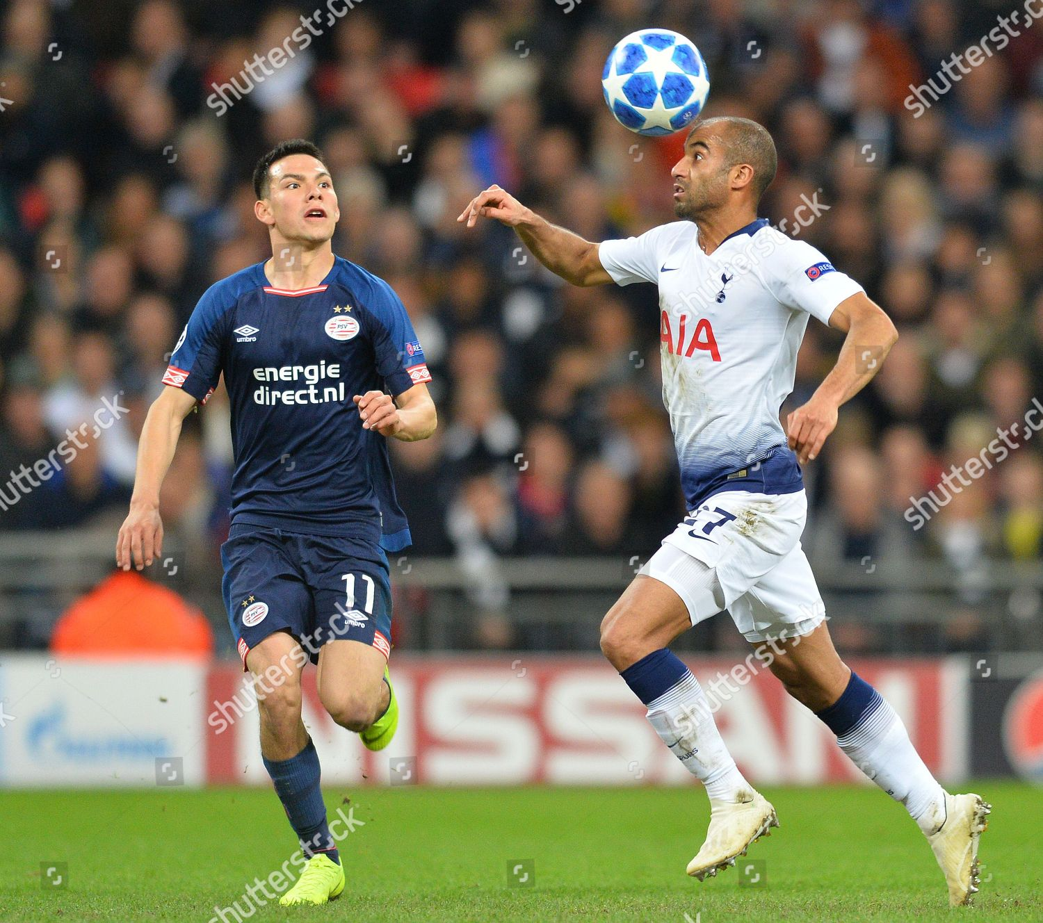 Lucas Moura Tottenham Hotspur Heads Ball Watched Editorial