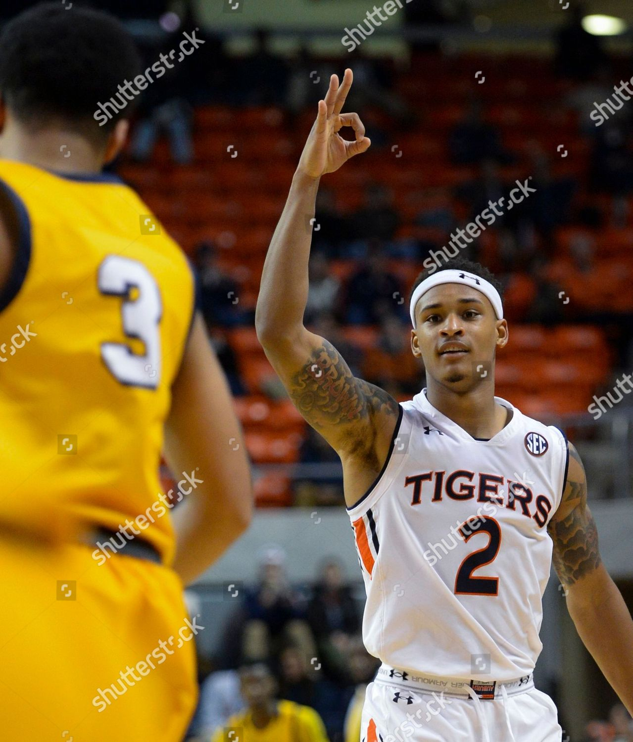 Auburn Guard Bryce Brown Celebrates 3point Shot Editorial