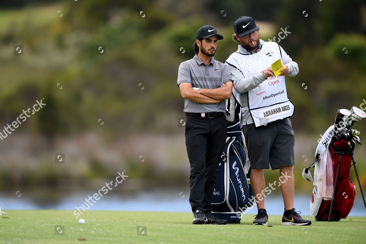 Abraham Ancer Mexico L speaks his caddy Editorial Stock Photo